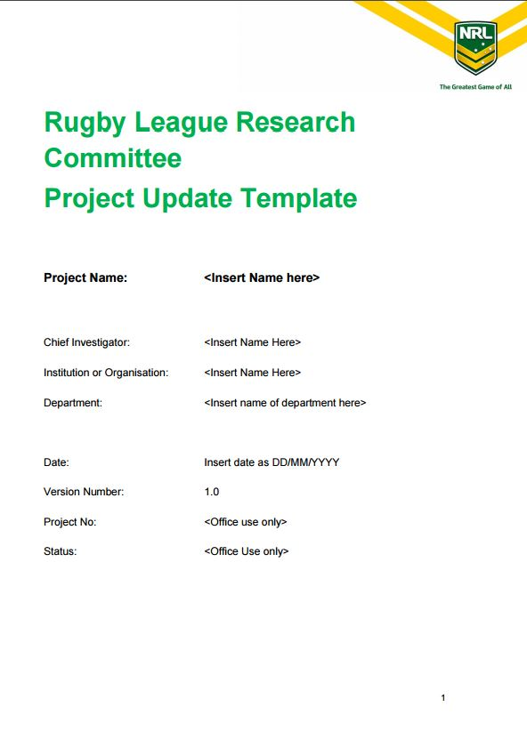 OR, Click On The Image Below To View Or Download The Research Project  Update Template.